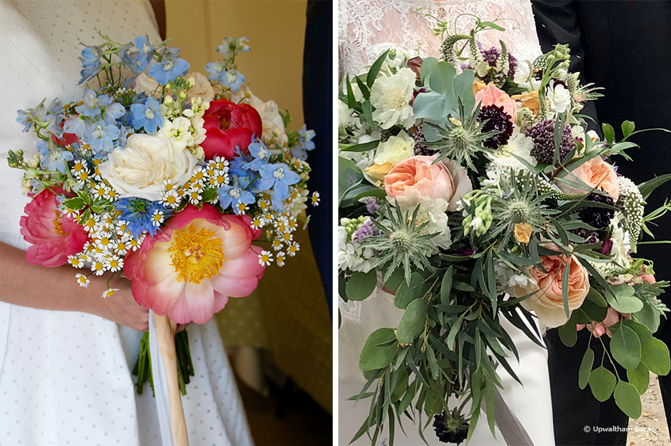 Wedding bouquets full of peonies are perfect for romantic weddings at Upwaltham Barns