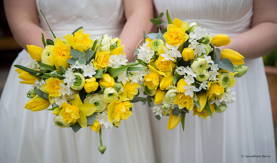 For a spring wedding at Upwaltham Barns yellow florals are the perfect choice for your wedding bouquet