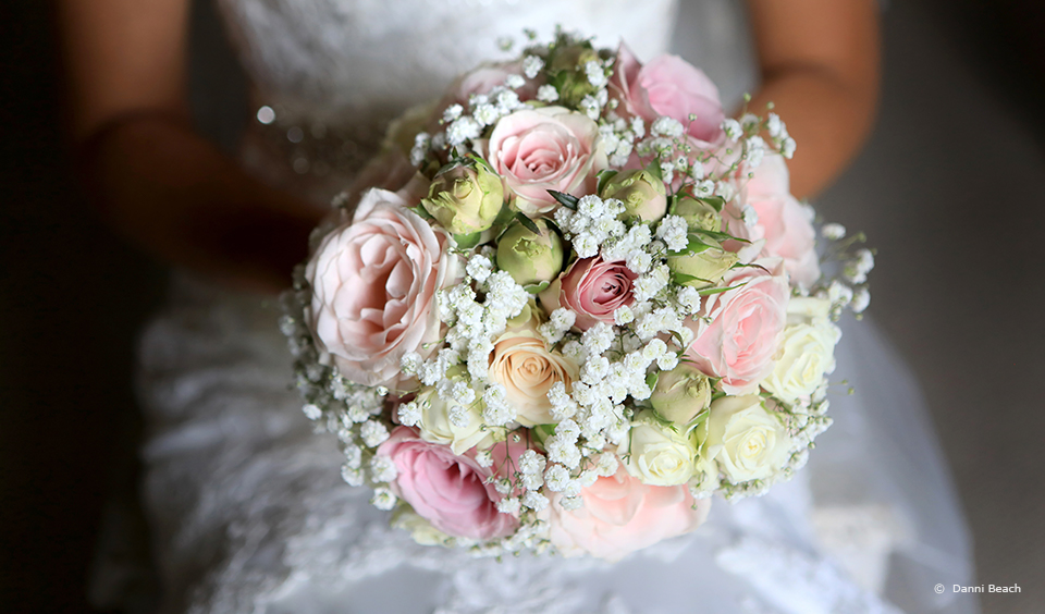 Roses are the perfect flower for your wedding bouquet if you're opting for a traditional wedding at Upwaltham Barns