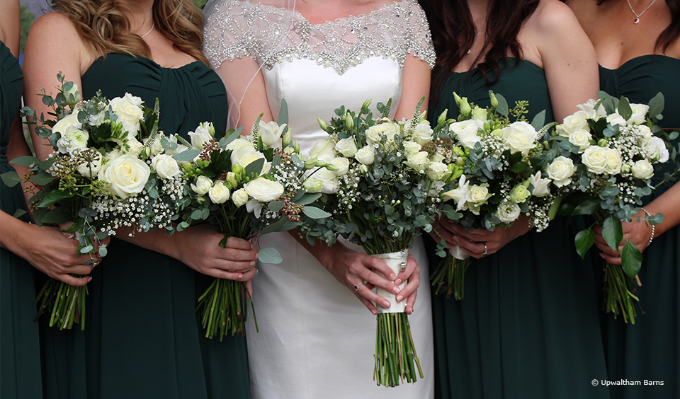 White and green foliage wedding bouquets are beautiful for a traditional wedding at Upwaltham Barns