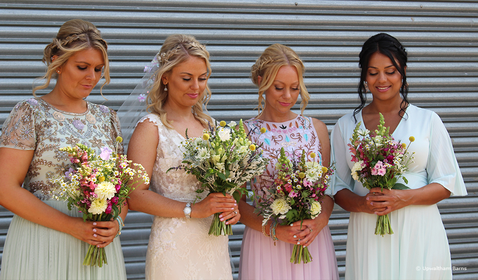 For a rustic wedding at Upwaltham barns choose hand-picked wild flower wedding bouquets