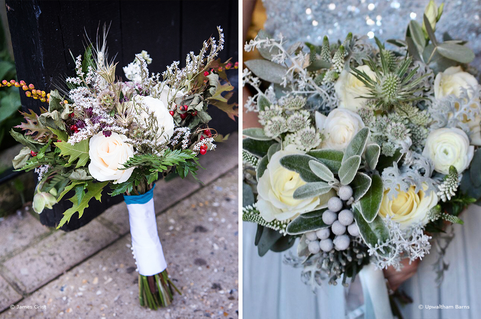 Add berries to your wedding bouquet for a winter wedding at Upwaltham Barns