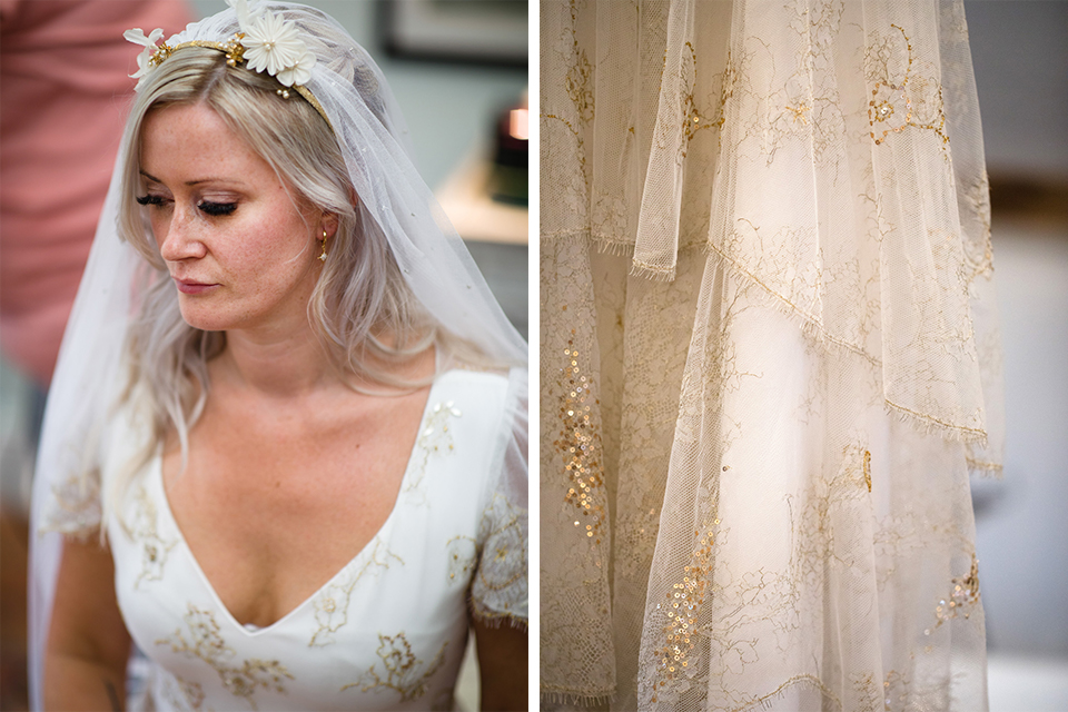 For her wedding at Upwaltham Barns the bride wore a wedding veil that was decorated with gold embroidery