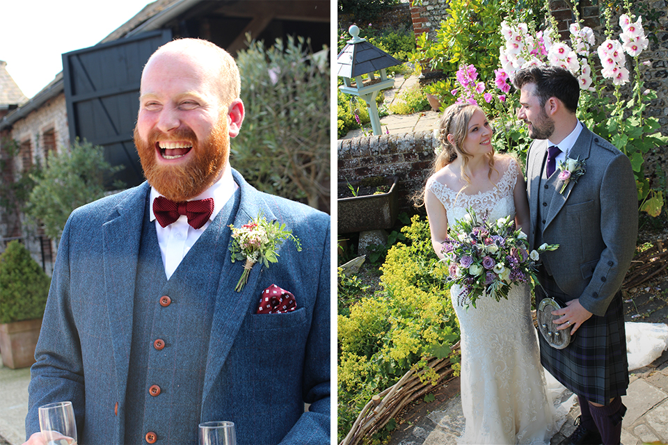 A groom wears a stylish buttonhole attached to his suit for his wedding at Upwaltham Barns