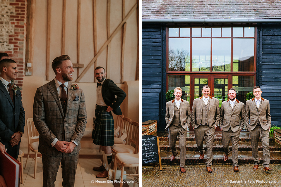 The groom wears a tweed wedding suit for his winter wedding at Upwaltham Barns