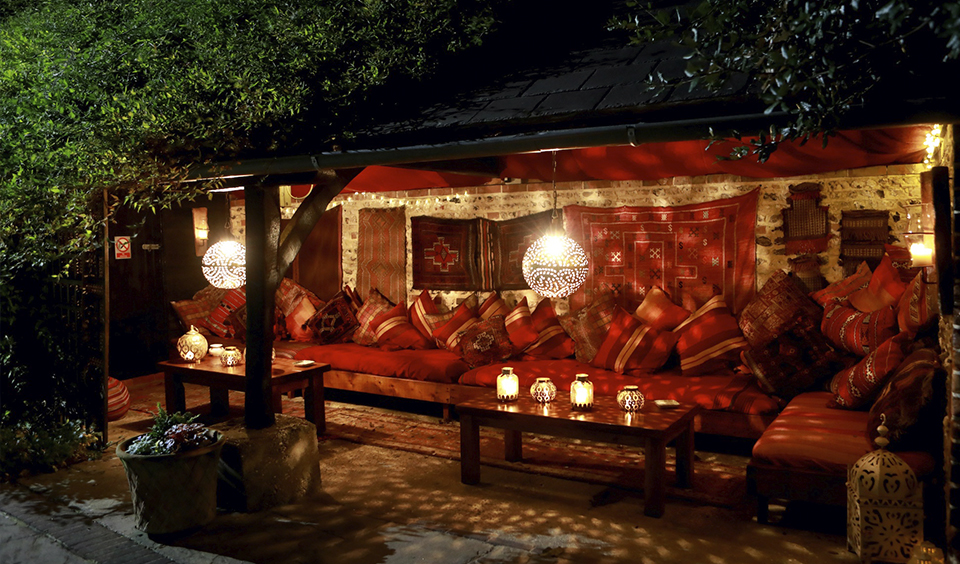 The Moroccan Snug at Upwaltham Barns if a comfy outdoor seating area for your wedding guests