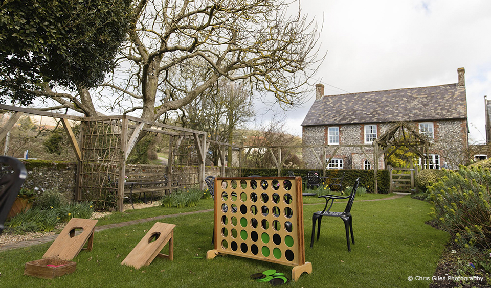 Giant garden games are the perfect way to keep kids entertained during a wedding reception at Upwaltham Barns
