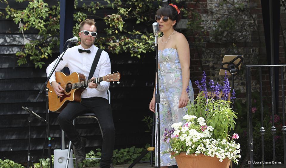 A jazz singer works perfectly as background music to your drinks reception at Upwaltham Barns