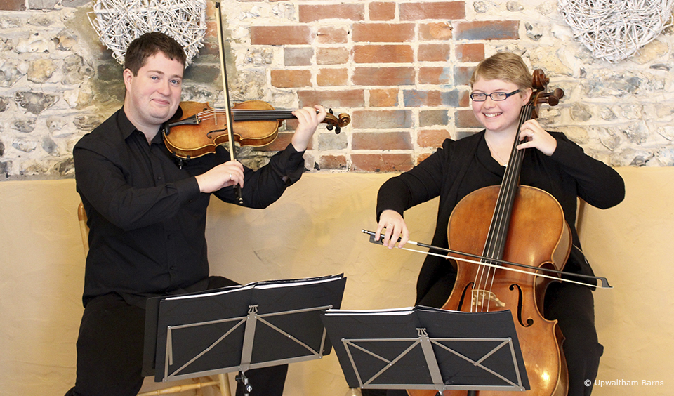 A string duet are the perfect accompaniment to your wedding ceremony at Upwaltham Barns