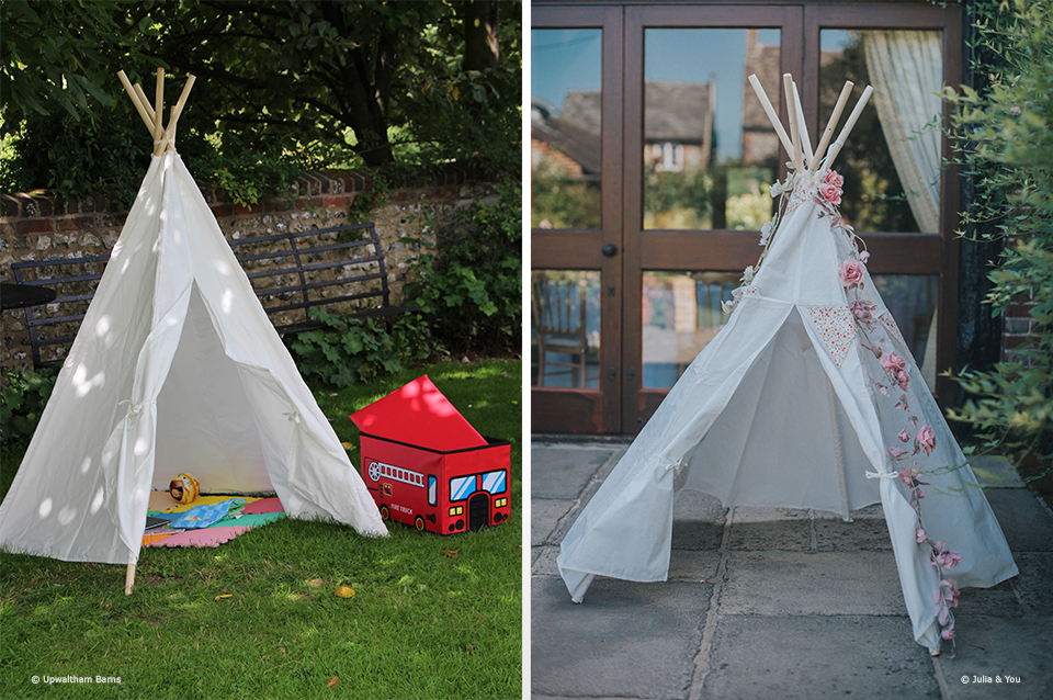 A secret tipi in the gardens at Upwaltham Barns is a great place for kids to hide