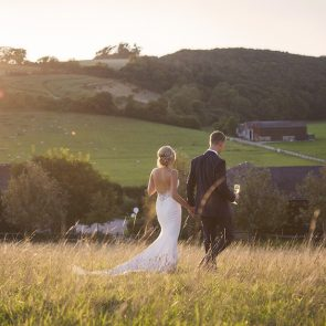 The newlyweds explore the Sussex countryside that surrounds Upwaltham Barns