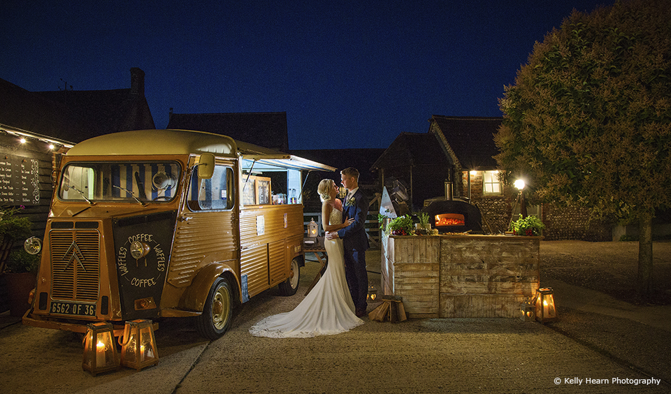 A wedding food truck was perfect for the evening reception at this autumn wedding at Upwaltham Barns