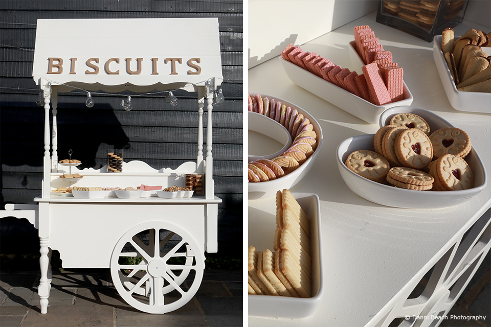 A biscuit bar was created as an alternative wedding idea for this summer wedding at Upwaltham Barns