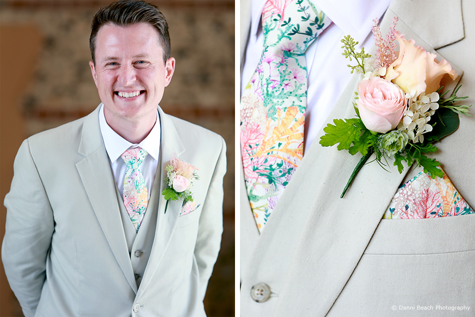 The groom wore a cream linen wedding suit for his summer wedding at Upwaltham Barns