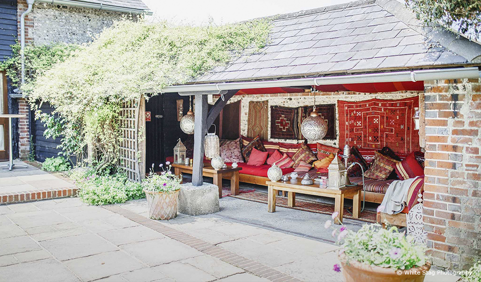 The Moroccan Snug at Upwaltham Barns is the perfect outdoor space for wedding guests to relax