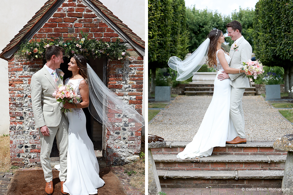The newlyweds enjoy a moment together on their summer wedding day at Upwaltham Barns