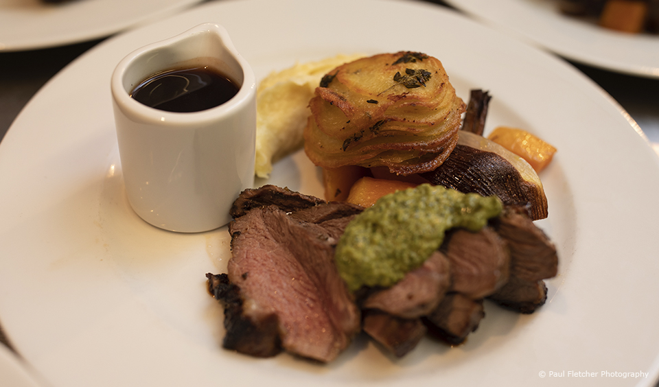 A roast dinner is a popular choice for a wedding breakfast at Upwaltham Barns