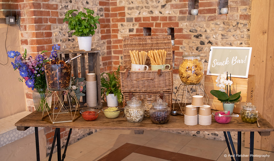 Create your own snack bar for your evening reception at Upwaltham Barns
