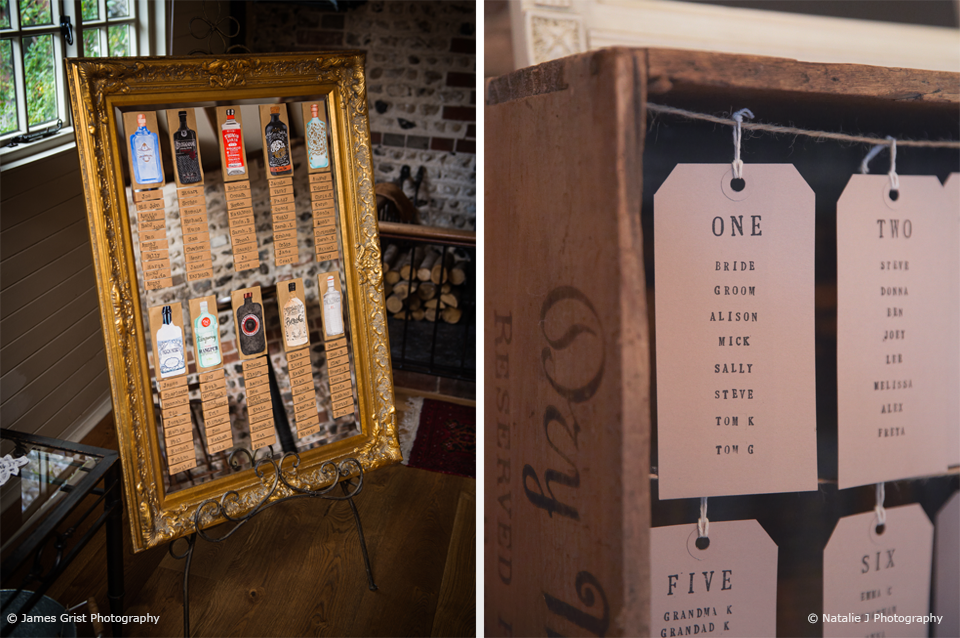Couples created their own DIY wedding table plan for their wedding at Upwaltham Barns